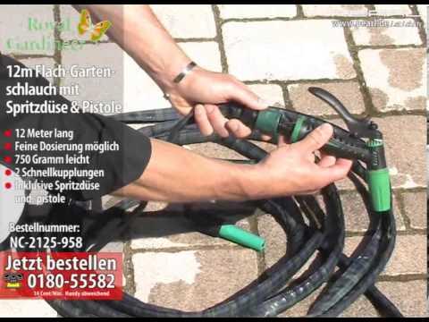 Royal Gardineer 12m Flach-Gartenschlauch mit Spritzdüse & Pistole