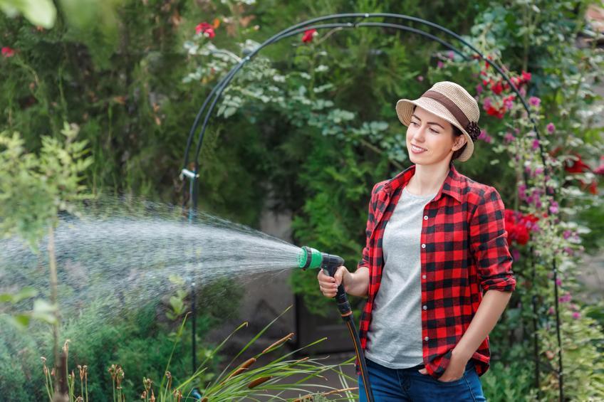 Gartenbewässerung mit Gartenbrause