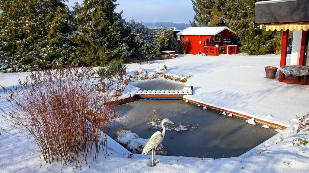 verschneiter großer Gartenteich im Winter mit Brücke an Terrasse